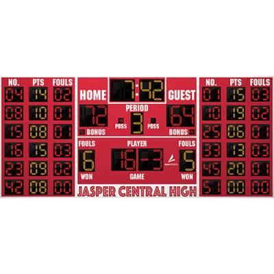 18' x 8' Basketball/Volleyball Scoreboard w/Player Panels Main Image
