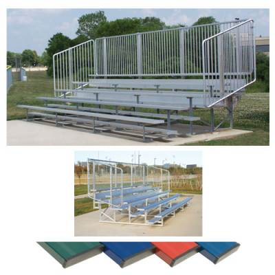 Powder Coated Bleachers with Vertical Picket Railing Main Image