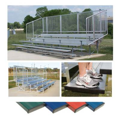 Preferred Powder Coated Bleachers with Vertical Picket Railing Main Image